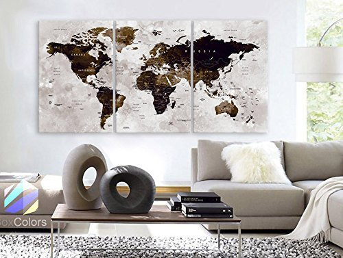Original by BoxColors LARGE 30''x 60'' 3 Panels 30''x20'' Ea Art Canvas Print Watercolor Map World countries cities Push Pin Travel Wall color Brown beige dark decor Home interior (framed 1.5'' depth) by BoxColors