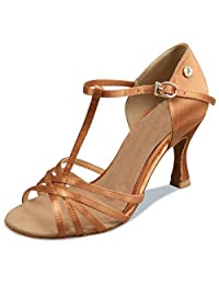 Minitoo TH003 Women's Open Toe Satin Latin Salsa Ballroom Dance Shoes