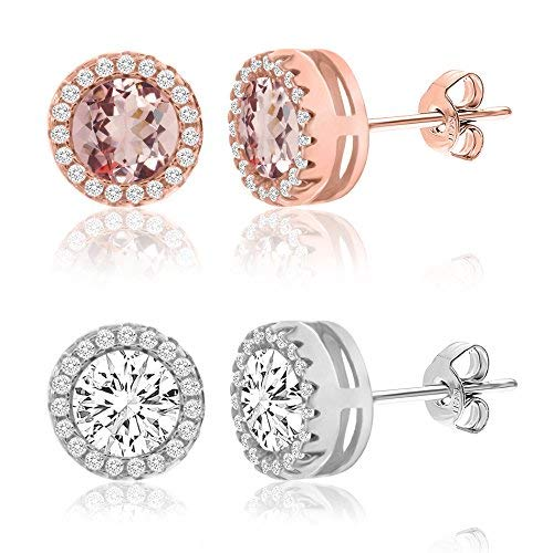LESA MICHELE Simulated Morganite and Cubic Zirconia Round Halo Stud Gift Earrings 2 pair Set for Women in 925 Sterling Silver with Rose and Rhodium Plating