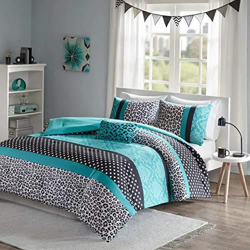 Kaputar Modern Polka DOT Zebra Animal Stripe Cheetah Teal Blue Pink Aqua Comforter Set | Model CMFRTRSTS - 494 | Twin
