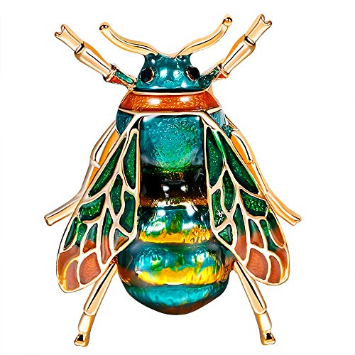 Stylebar Women Bee Brooch Pins Bumble Honeybee Brooches Broaches for Girls Summer Insect Blue Enamel Crystal Gold Tone