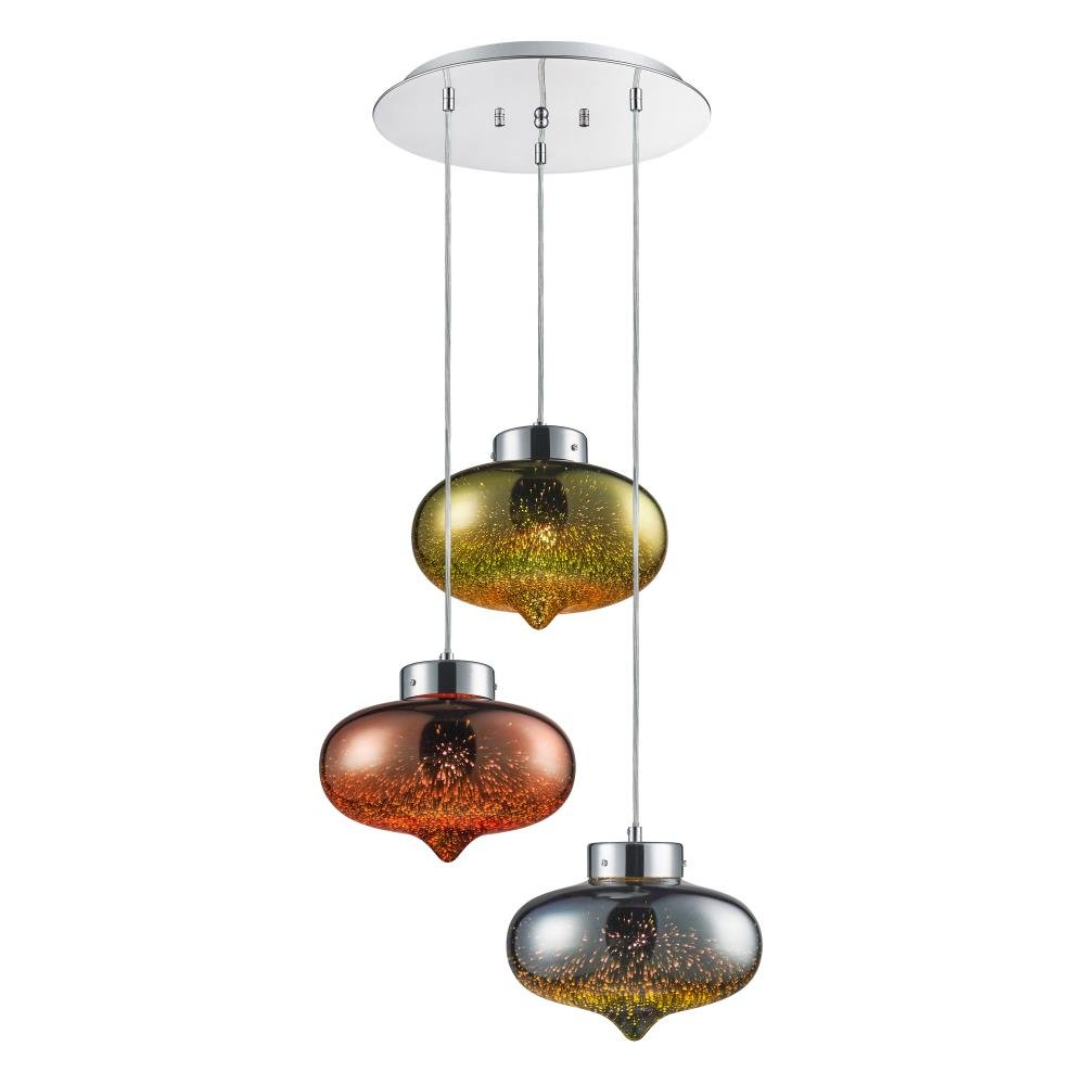 SereneLife SLLMP36 Triple Pendant Hanging Lamp Sculpted Glass Dome Globes