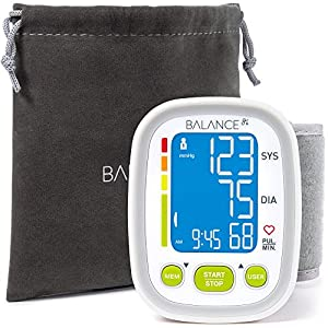 """Wrist Blood Pressure Cuff Monitor by Balance, """"2017 Update"""" Ultra Portable High Accuracy Readings, Easy-to-Read LCD, Travel Bag included with Two User Support and 2-Year Warranty"""