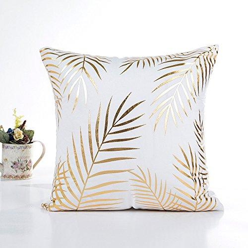 White Lilac Square - LtrottedJ Gold Foil Printing Pillow Case Sofa Waist Throw Cushion Cover Home Decor (D)