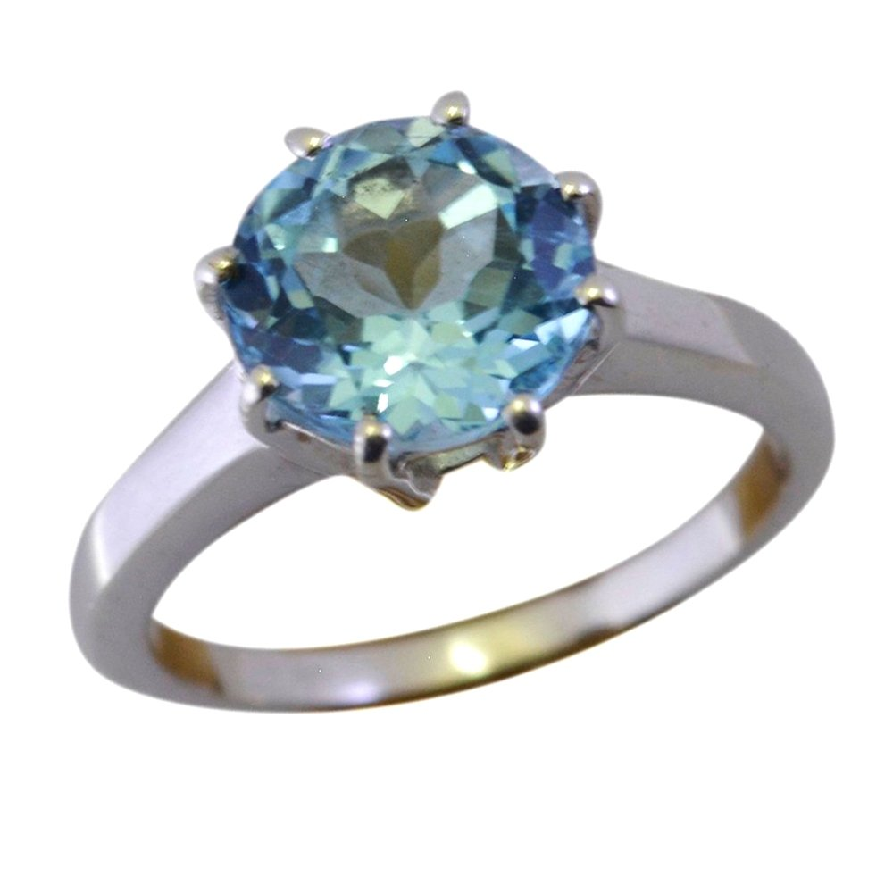 55Carat Brand Real Blue Topaz Statement Ring Sterling Silver Round Cut Handmade Size 4,5,6,7,8,9,10,11,12