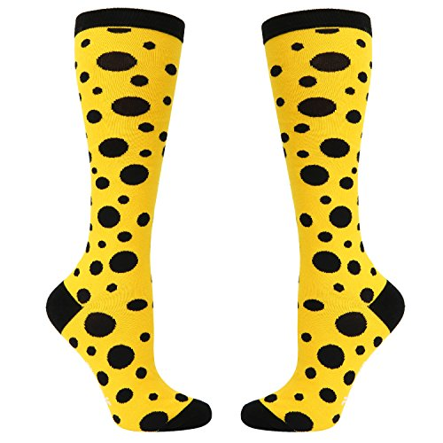 (Women's Novelty Polka Dots Knee High Socks,Funny Over the Calf Socks,Boot Socks in Yellow)