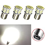 NAKOBO 1157 BAY15D 1016 1034 7528 2057 LED Light 12V-DC, 1206 50 SMD Car Replacement for Brake Parking Turn Signal Light Lamps Tail Backup Bulbs,Xenon White (Pack of 4)
