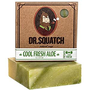 Cool Fresh Aloe Soap for Men – Naturally Refreshing Aloe Vera Soap for Men with Organic Oils – Bar Handmade in USA by Dr. Squatch