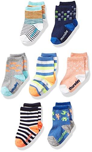 OshKosh B'Gosh Baby Boys Crew Socks (7 Pack), days of the week/beach 12-24 Months