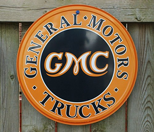 Gmc Trucks Round Metal Sign   12X12 By Poster Discount