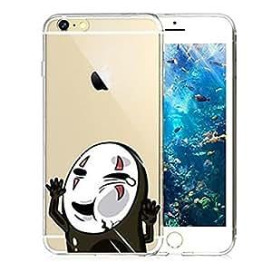 BlueKid Cara golpee el vidrio de la muerte slim transparente TPU suave funda (iPhone 6S Plus iPhone 6S iPhone 6 Plus iPhone 6 iPhone 5C iPhone 5/5S iPhone 4/4S )(iPhone 6S/4.7,Negro)