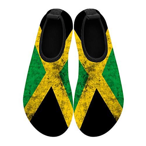 - COEST Summer Outdoor Beach Swim Barefoot Shoe Jamaica Jamaican Flag Aqua Water Shoes Socks for Women Men 10.5-11 M US Women / 9-9.5 M US Men