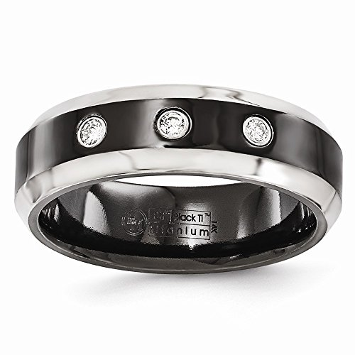 Edward Mirell Black Titanium Beveled .09 Ct Diamond 925 Sterling Silver Bezel 7mm Wedding Ring Band Size 11.50 Man Fine Jewelry Gift For Dad Mens For Him