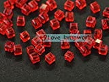 6-Red 300pcs Wholeslae Lot 3mm Cube Square Faceted Crystal Glass Loose Spacer Beads Jewelry