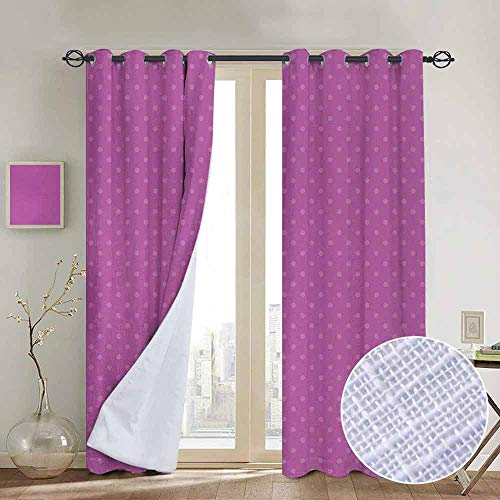 NUOMANAN Curtains for Living Room Mauve,Retro Polka Dot Background Nostalgic Large Spots Regular Vintage Artful Pattern,Mauve Violet,Complete Darkness, Noise Reducing Curtain 54