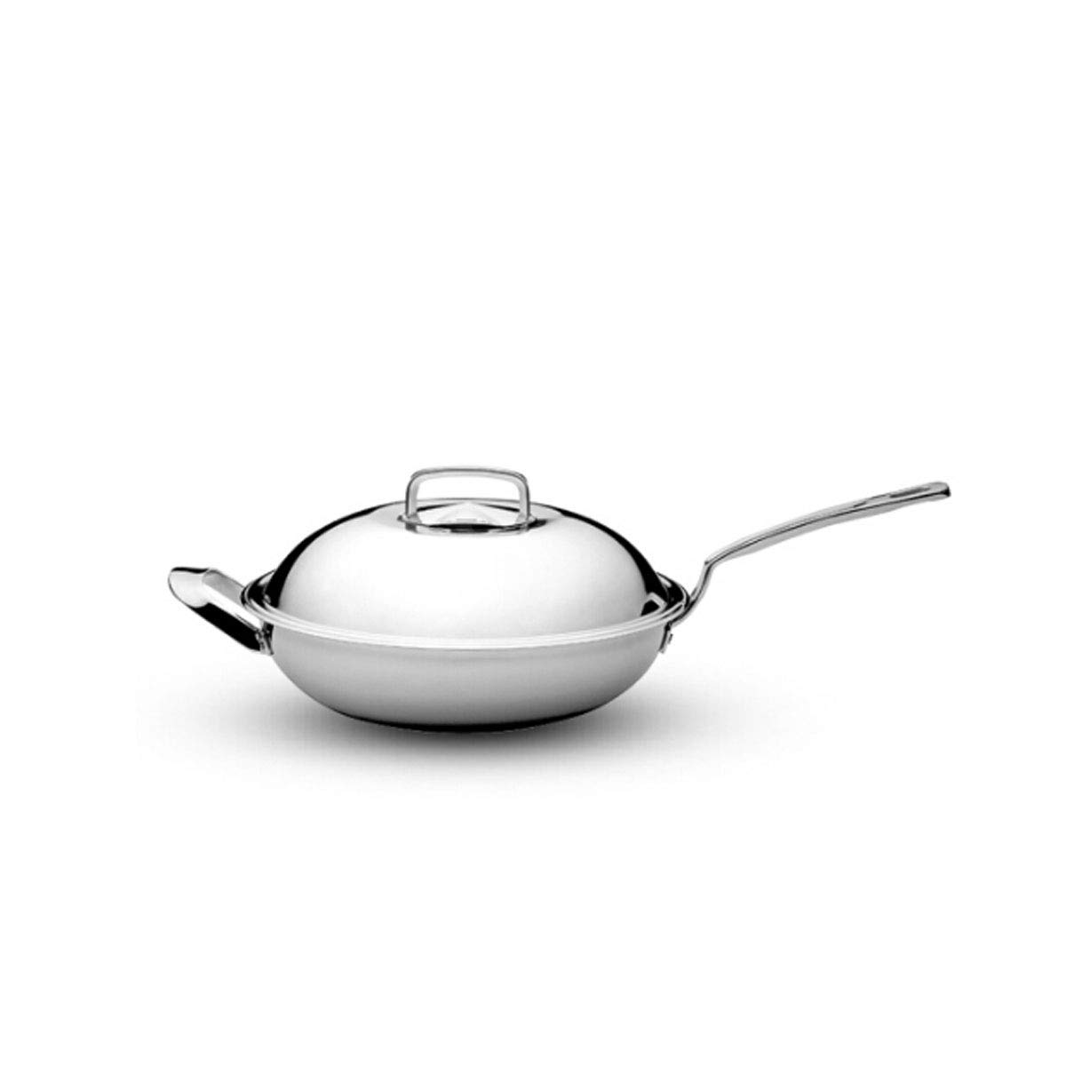 8haowenju Pan,Kitchen Standard 12.8-inch Stainless Steel Frying Pan, Uncoated Pot, Induction Cooker and Gas Stove Can Be Used, Silver White Multi-Purpose Pot (Size : 32cm)