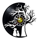 Cheap Toffy Workshop Lovely Cats at Night Under The Tree Vinyl Record Wall Clock – Exciting Guest Room Decor idea for Children, Adults, Men and Women!