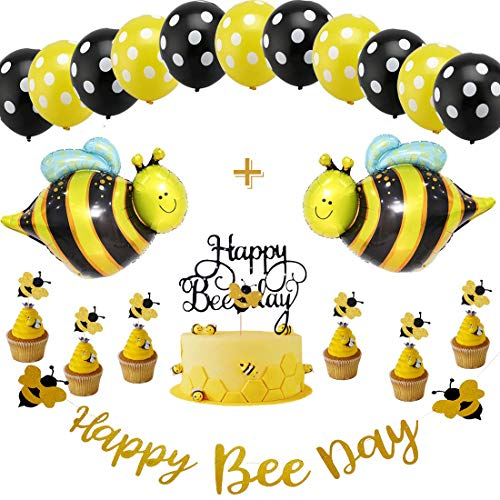 Maya The Bee Party Supplies (Bumblebee Party Decoration Bumble Bee Balloons PLUS Happy Bee Day Gold Glitter Banner & Happy Bee Day Cake Topper for Honey Bee Themed Birthday Party Baby Shower)