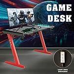 Hironpal Gaming Desk Corner Computer PC Table Home Office Desk Ergonomic Gamer Workstation Racing Table with LED Light…