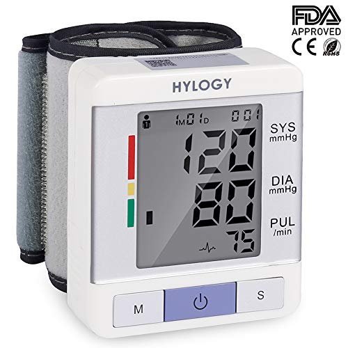 Blood Pressure Monitor, HYLOGY Clinically Accurate Automatic Wrist BP Monitor with 2 Users Mode Portable Sphygmomanometer with 2 * 90 Memory Storage CE and FDA Approved
