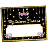 Unicorn Name Tags for Kids Birthday Party or Game   Includes: 25 Nametag Stickers   Design by Katie Doodle (BD101)