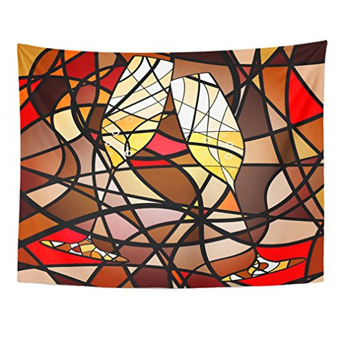 Emvency Tapestry Mandala 60x80 inch Home Decor Black Wine Abstract Champagne Red Celebratory Drink Glass Creative Large Abstraction For Bedroom Living Room Dorm