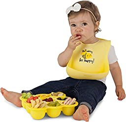KIDDO FEEDO Feeding Bib with Large Food Catcher Pocket - 6 Cool Designs Available - Portable and Easy Clean – Yellow