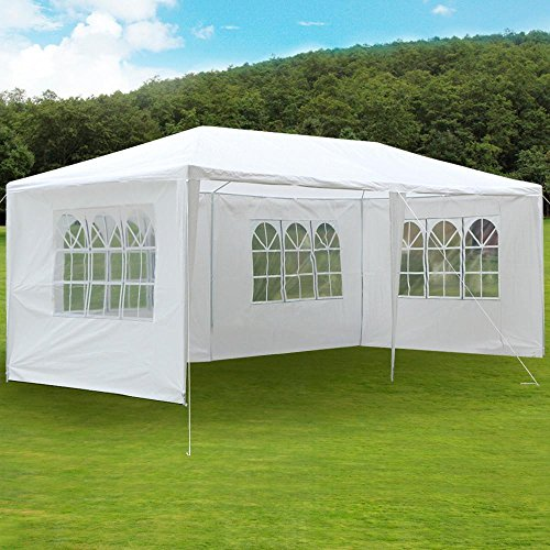 Yaheetech Large Heavy Duty Party Tent 10x20ft for Outdoor Wedding Event Dancing Party Gazebo Canopy with 4 Pcs Removable Side-Walls White