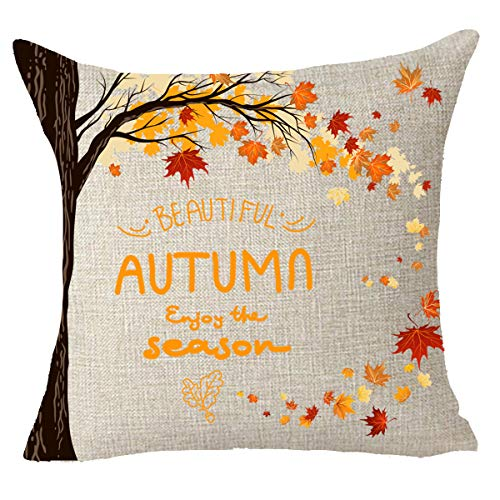 Thanksgiving gifts fall Maple Leaves pumpkin Harvest autumn Throw Pillow Cover Cushion Case Cotton Linen Material Decorative 18 x18 Square (18x18 inches, 4)