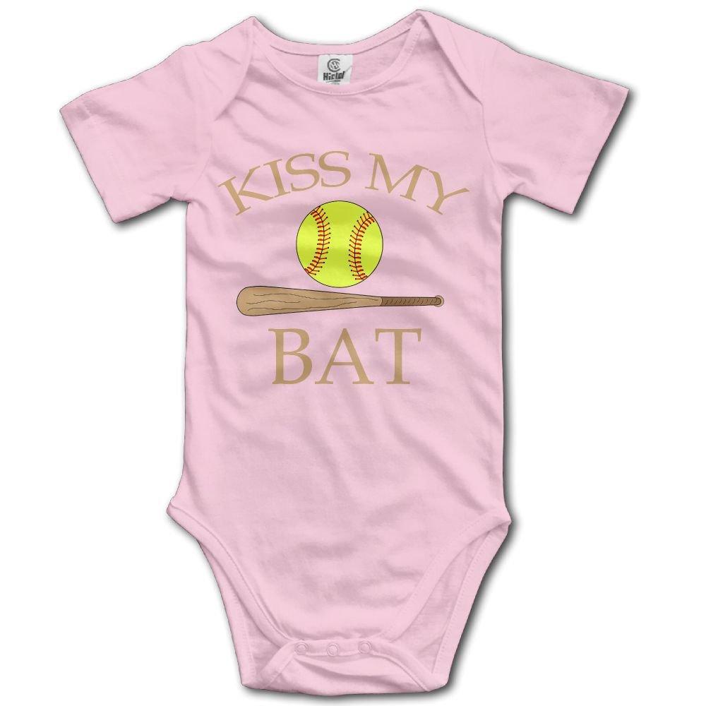 Jaylon Baby Climbing Clothes Romper Kiss My Bat Softball Infant Playsuit Bodysuit Creeper Onesies Pink