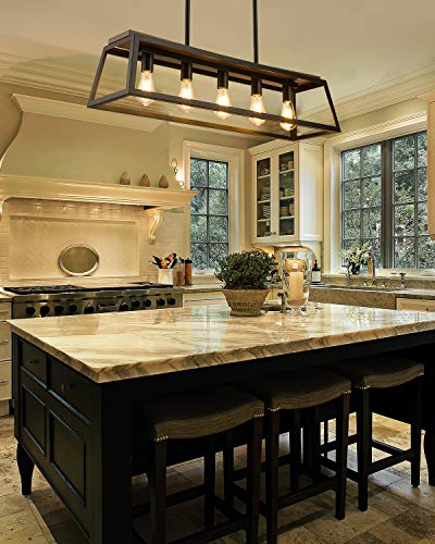Eapudun 38-Inch 5-Light Kitchen Island Lighting, Farmhouse Linear Chandelier for Dining Room Pool Table Pendant Light…