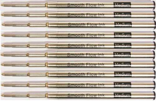 10 Montblanc Compatible Ballpoint Pen Refills - Black Medium Point (Bulk Packed)