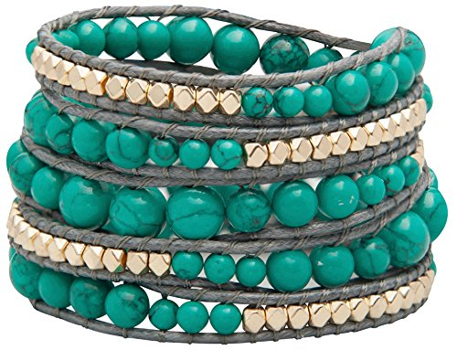 Sterling Gold Vintage Bracelets - Genuine Stones 5 Wrap Bracelet - Bangle Cuff Rope With Beads - Unisex - Free Size Adjustable (Turquoise)