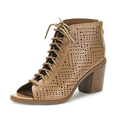 DREAM PAIRS Women's Egypt Nude Pu Mid Heel Ankle Bootie Shoes - 11 M US