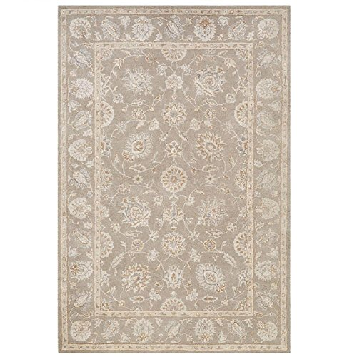 2' x 3' Ivory, Stone Gray and Chestnut Brown Watson Floral Hand Tufted Wool Area Throw Rug (Watson Pool Patio And)