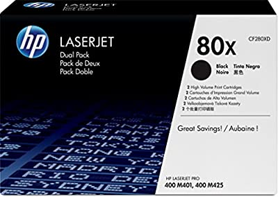 HP 80X (CF280XD) Black High Yield Original LaserJet Toner Cartridges, 2 pack