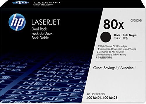 HP 80X (CF280XD) Black High Yield Original LaserJet Toner Cartridges, 2 pack (Hp M425dn Printer)