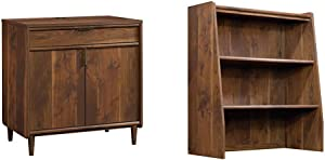Sauder Clifford Place Library Base, Grand Walnut Finish & Clifford Place Library Hutch, Grand Walnut Finish