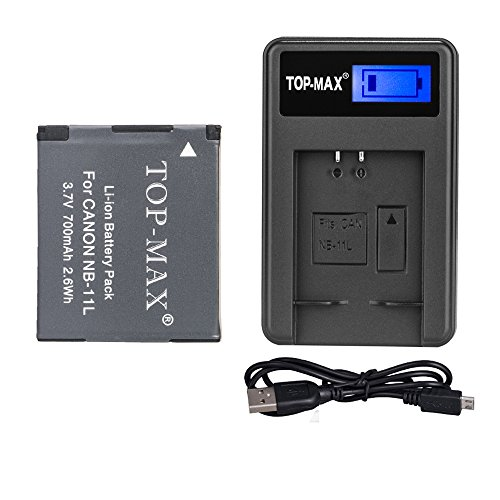 TOP-MAX NB-11LH NB-11L Battery and Quick Charger for Canon P