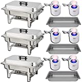 Chafing Dish Buffet Set — Water Pan + Food Pan (8 qt) + Frame + 2 Fuel Holders - Stainless-Steel Warmer Kit 3 Pack