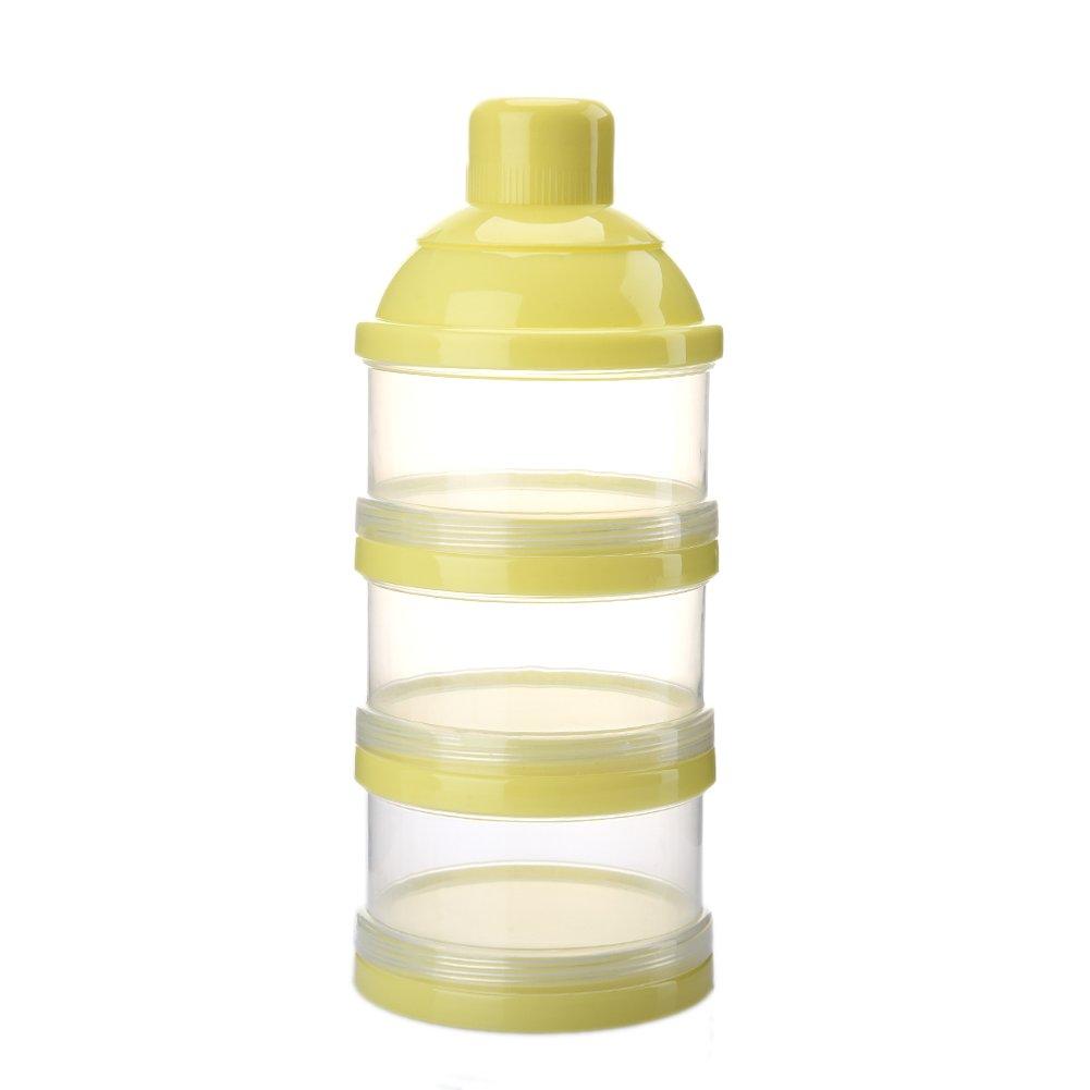 Milchpulver Portionierer, Luerme 3 Schicht Milchpulver Lagerung Behä lter Baby Milk Powder Formel Dispenser (Gelb)