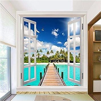 Wapel Für Wände 3D Wand Papier Natur Hintergrund Strand Blick Auf Das Meer  Blauer Himmel Wolken