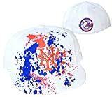 New York Mets Fitted Size 7 3/8 White Cooperstown Collection Hat Cap - Paint Splatter Blue & Orange