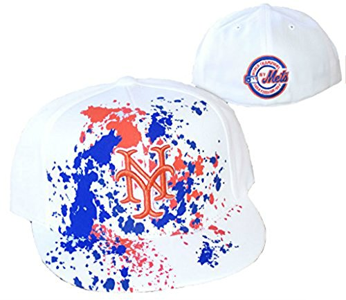 New York Mets Fitted Size 7 3/8 White Cooperstown Collection Hat Cap - Paint Splatter Blue & Orange - Paint Splatter Cap