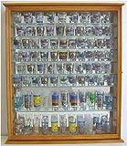 110 Shot Glass Display Case Holder Cabinet Shadow Box, Hinged Door, Solid Wood, Oak Finish (SC09-OA)