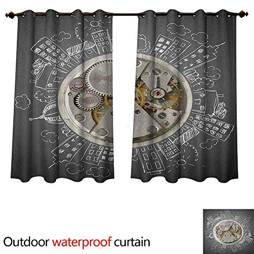 Boudoir Table Clock - Anshesix Clock 0utdoor Curtains for Patio Waterproof an Alarm Clock Print with Buildings and Clouds Around It Checking The Time Art W120 x L72(305cm x 183cm)