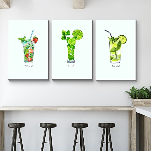3 Panel Mojito Types Triptych Series Alcohol Illustrations x 3 Panels