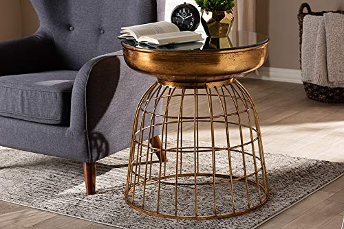 - Baxton Studio Mirrored Glass Cage Accent Table in Antique Gold Finish