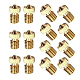 Mavally 14PCS M6 3D Printer 0.2mm 0.3mm 0.4mm 0.5mm 0.6mm 0.8mm 1.0mm Extruder Brass Nozzle Print Head for 1.75mm E3D Makerbot ABS PLA Printer(2pcs/Each Size)