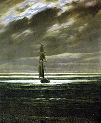 Seascape in the Moonlight (ca. 1835) by Caspar David Friedrich. 100% Hand Painted. Oil On Canvas. Reproduction. (Unframed and Unstretched).